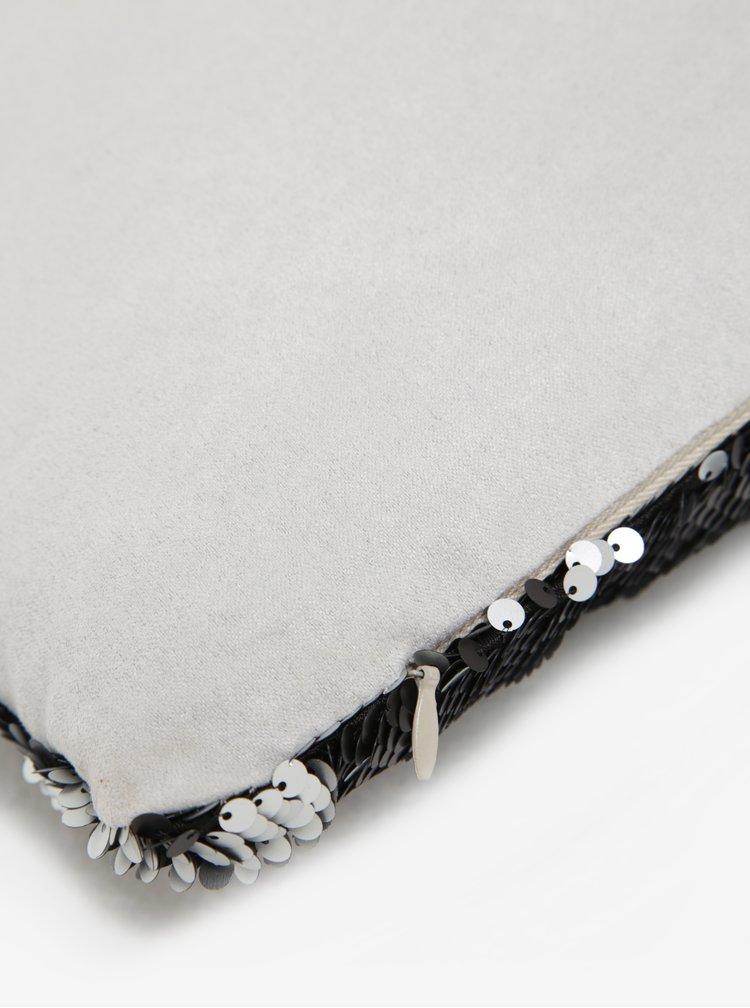 Sivo-čierny vankúš s flitrami Dakls