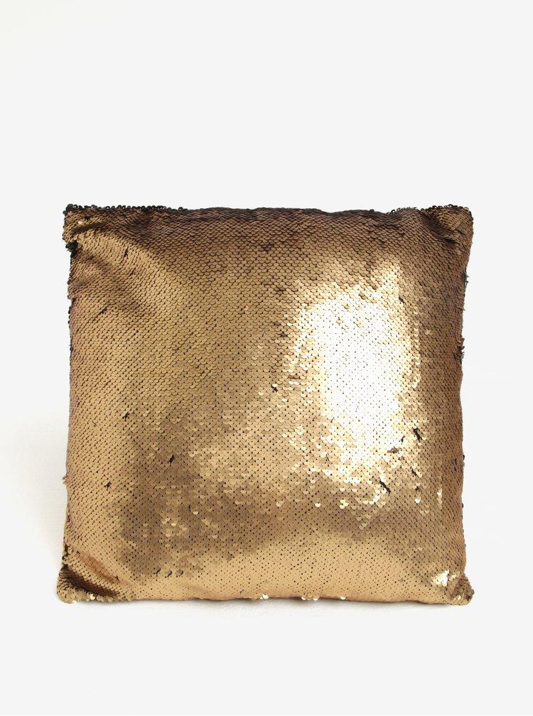 Polštář s magickými flitry ve zlaté a černé barvě Dakls