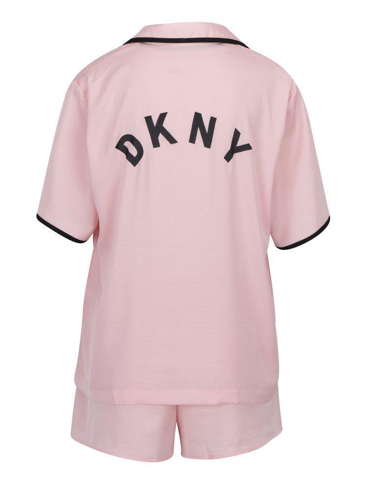Růžový set pyžama a masky na spaní DKNY
