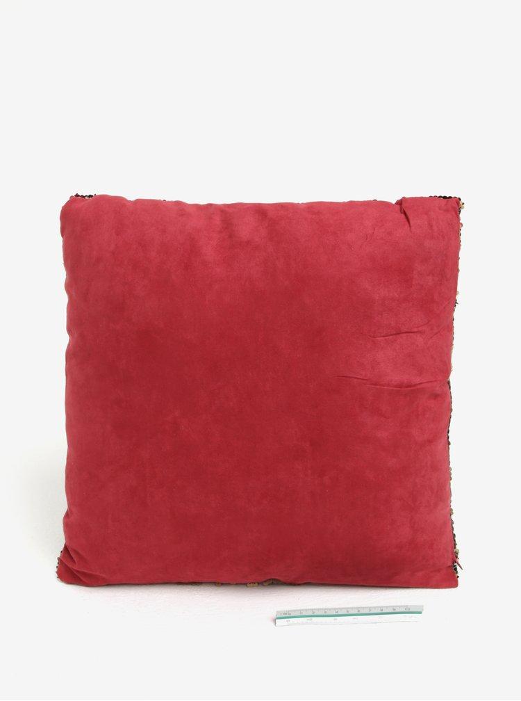 Krémovo-červený polštář s flitry Dakls
