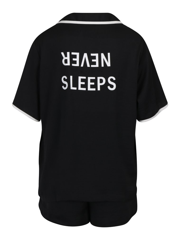 Černý set pyžama a masky na spaní DKNY