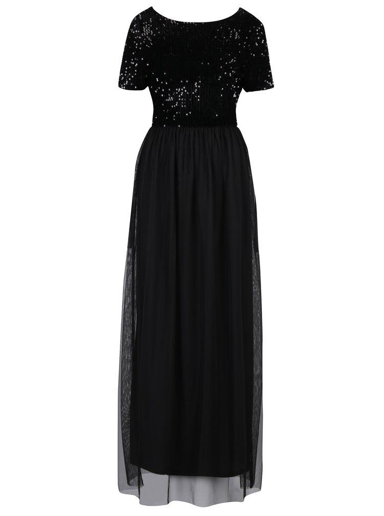 Černé maxi šaty s tylovou sukní a topem s flitry ONLY Confidence