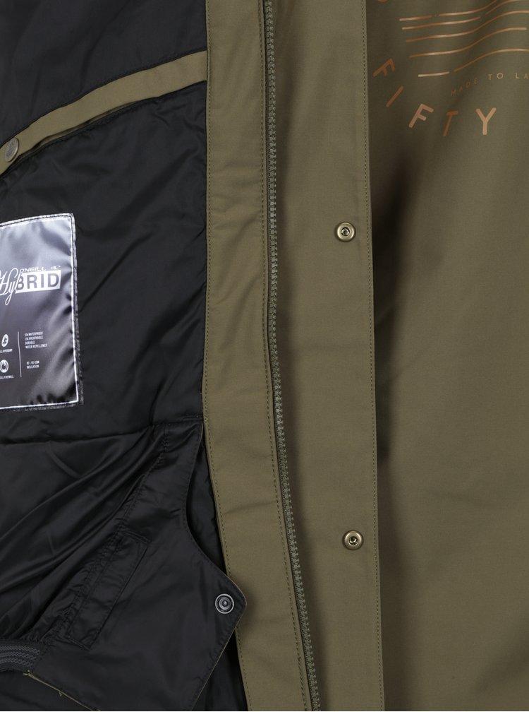 Khaki voděodolná funkční bunda s potiskem na zádech O'Neill
