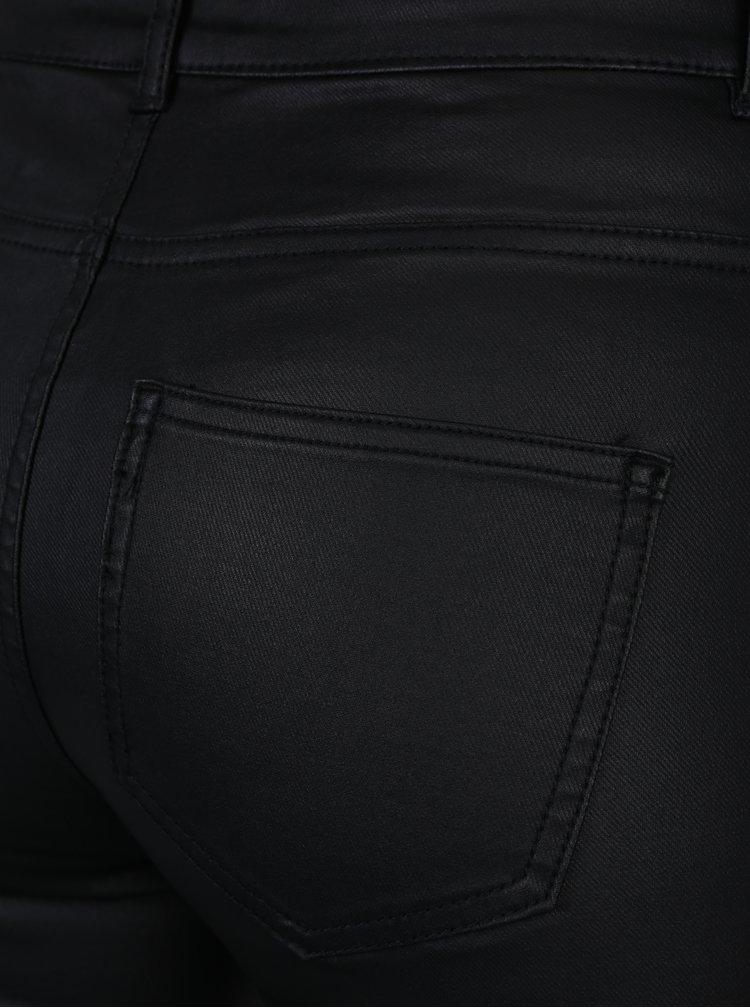 Černé koženkové skinny kalhoty Jacqueline de Yong Thunder