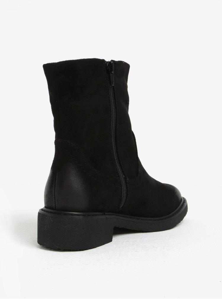 Černé zimní kotníkové boty v semišové úpravě ONLY Daria