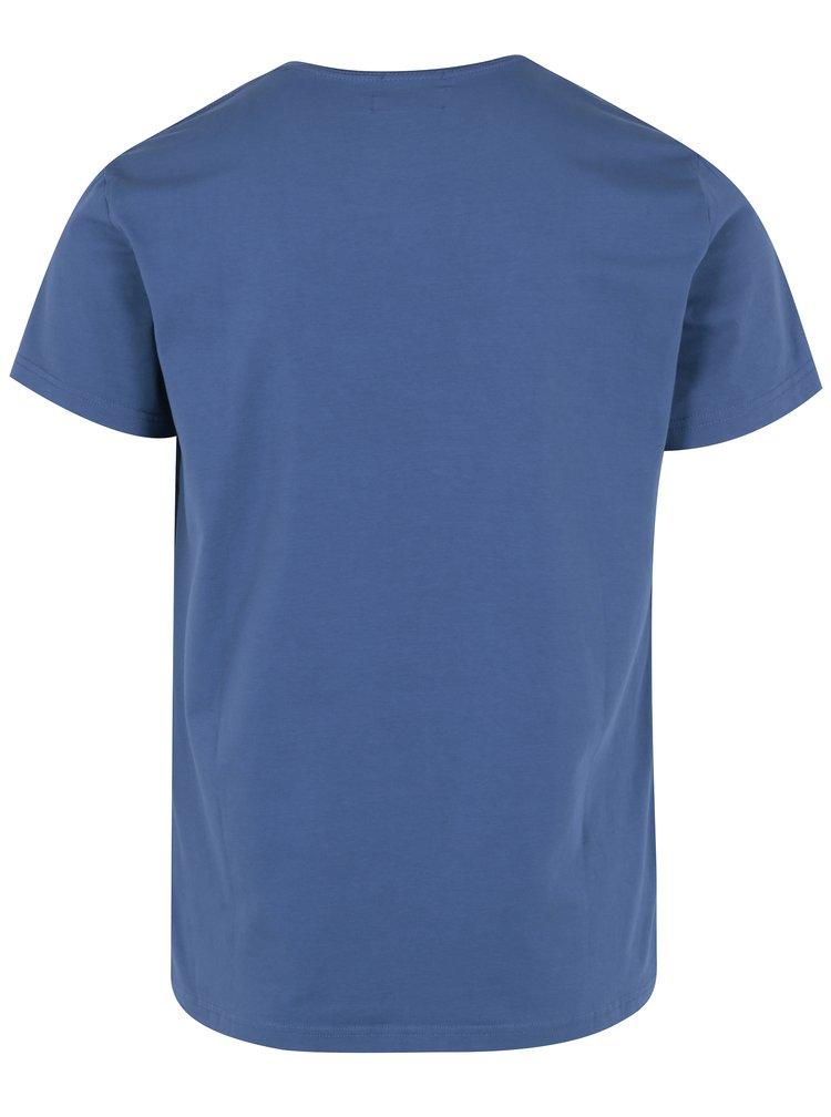 Tricou albastru cu print pentru barbati - Pepe Jeans Original Stretch