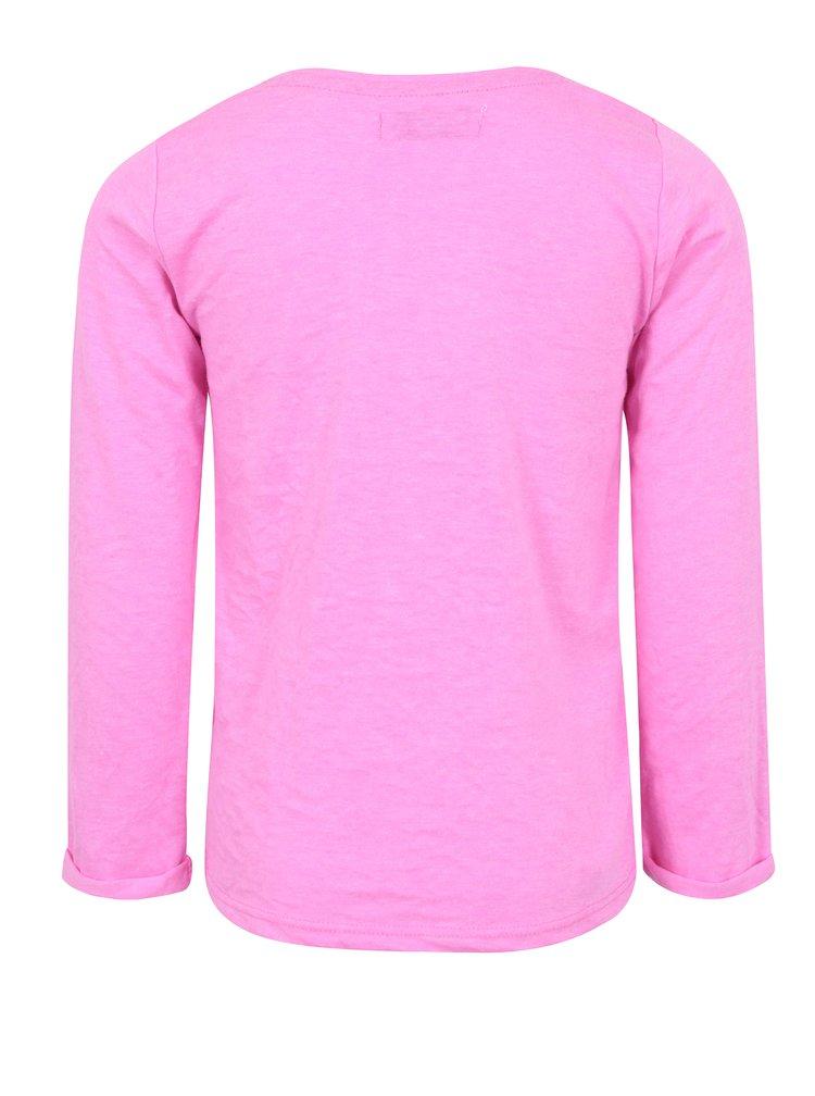 Růžové holčičí tričko s dlouhým rukávem a flitry 5.10.15.