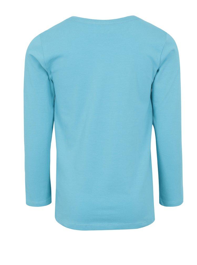 Modré holčičí tričko s dlouhým rukávem a potiskem 5.10.15.