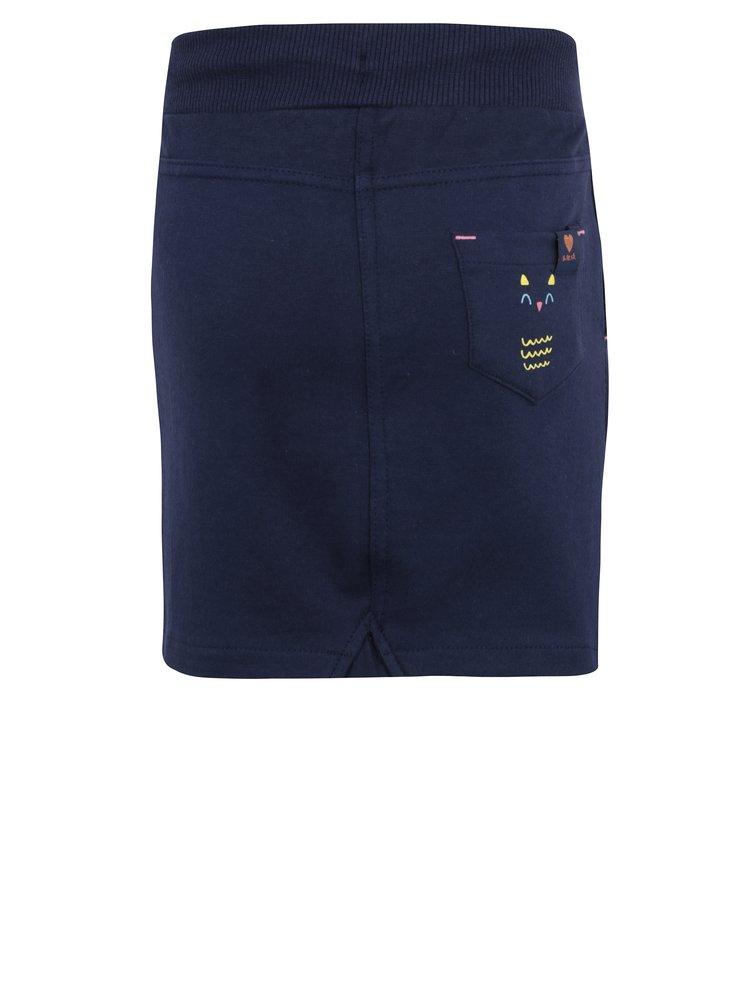 Tmavě modrá holčičí tepláková sukně s výšivkou 5.10.15.