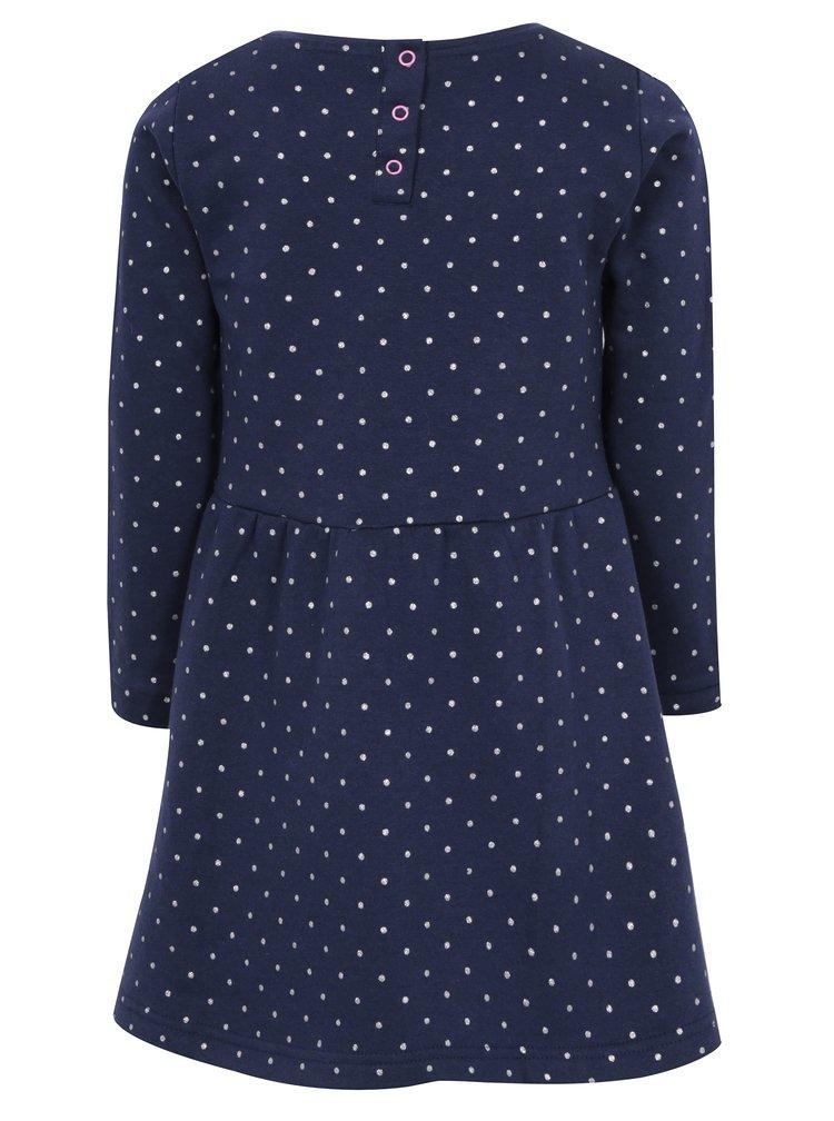 Tmavě modré holčičí třpytivé šaty s výšivkou 5.10.15.