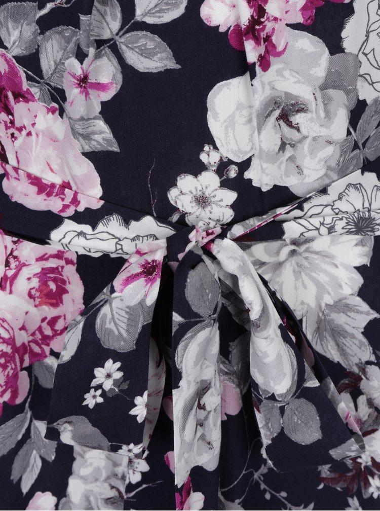 Tmavě modré áčkové květované šaty Billie & Blossom Tall