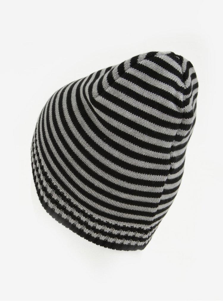 Černo-šedá pruhovaná klučičí čepice 5.10.15.