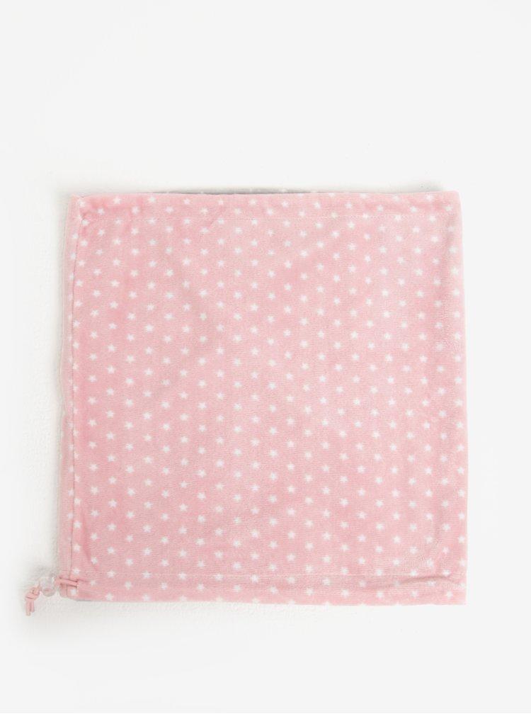 Sivo–ružový dievčenský vzorovaný obojstranný nákrčník 5.10.15.