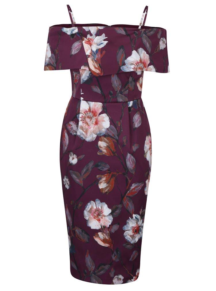 Vínové pouzdrové šaty s odhalenými rameny Dorothy Perkins