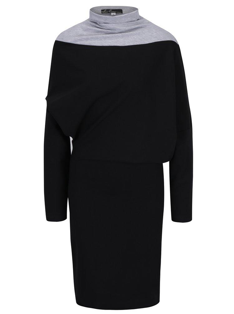 Černé asymetrické šaty s netopýřími rukávy a rolákem Lena Criveanu