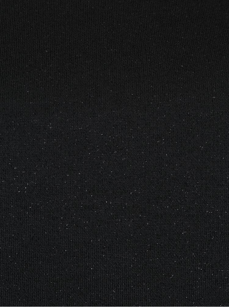 Černá mikina s rolákem a krajkovým lemem Ulla Popken