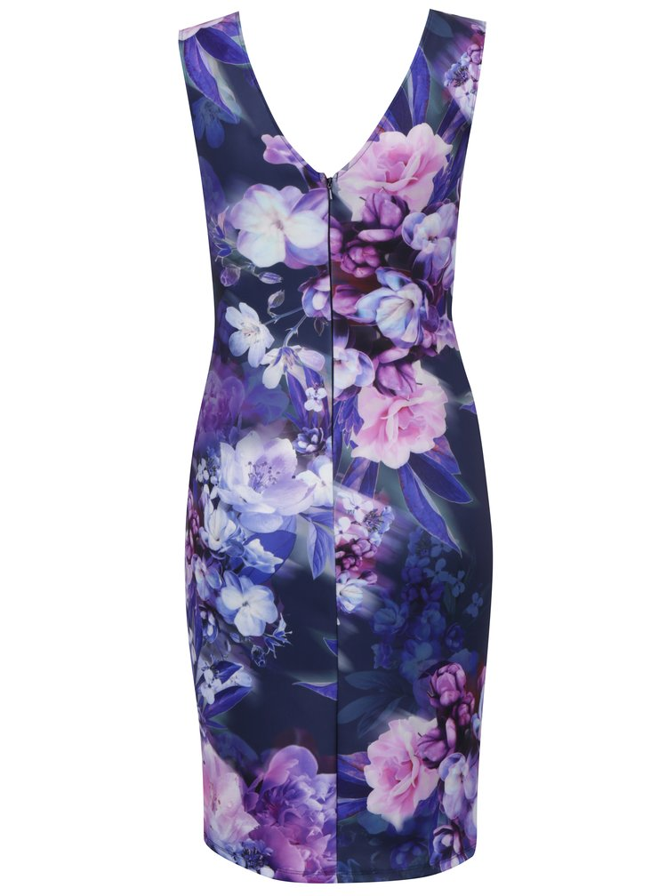Tmavě modré pouzdrové šaty s překládaným výstřihem Scarlett B