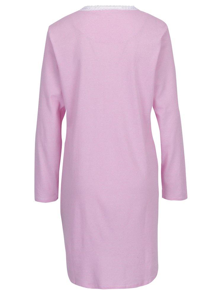 Bílo-růžová pruhovaná noční košile Ralph Lauren Henley