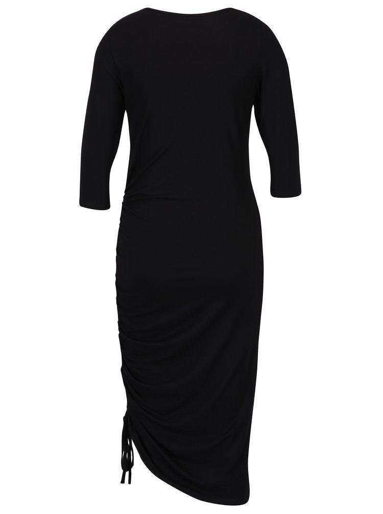 Černé šaty s řasením a 3/4 rukávy Dorothy Perkins