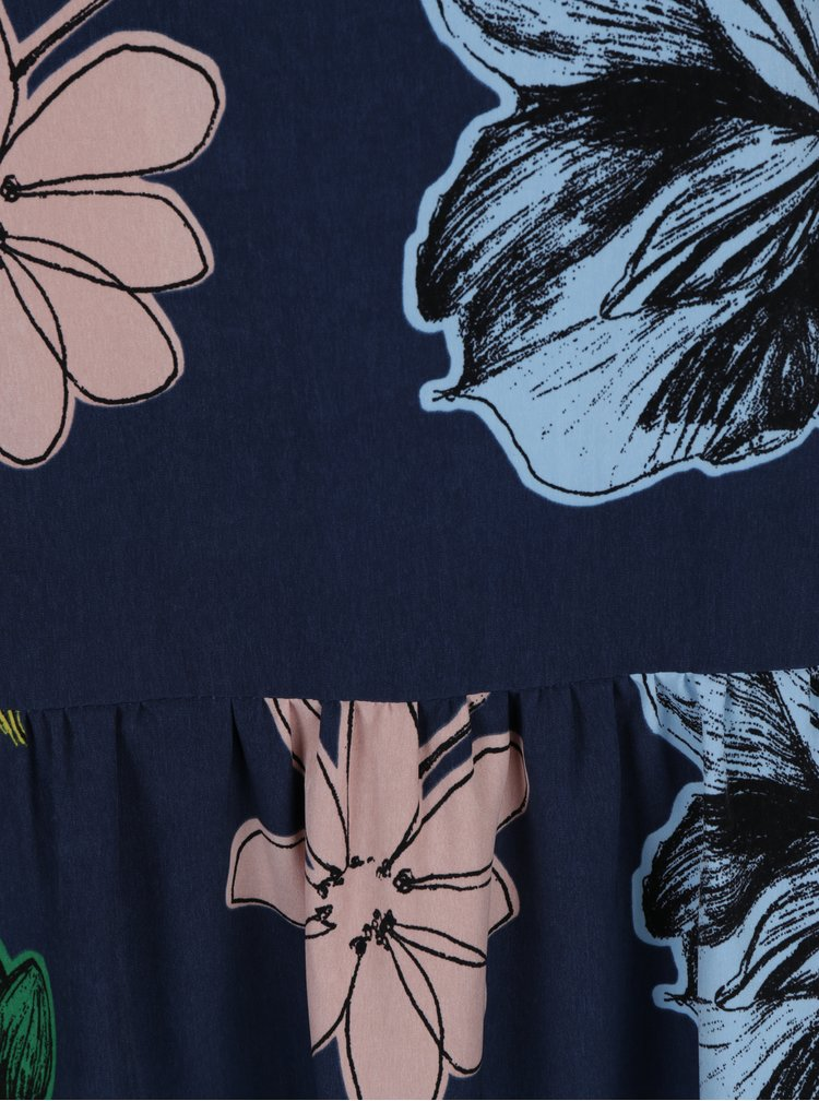 Tmavě modré květované šaty s volánem a průstřihem v dekoltu Lena Criveanu