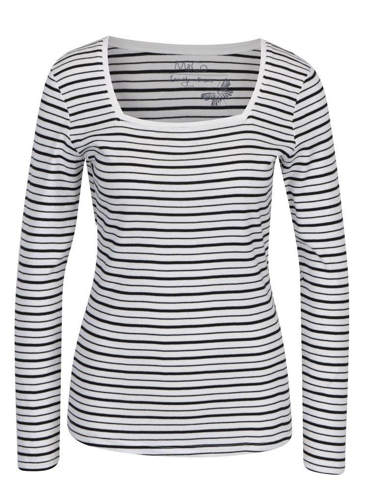 Krémové pruhované tričko s dlouhým rukávem M&Co