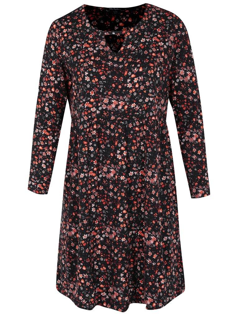 Černé květované šaty s dlouhým rukávem Ulla Popken