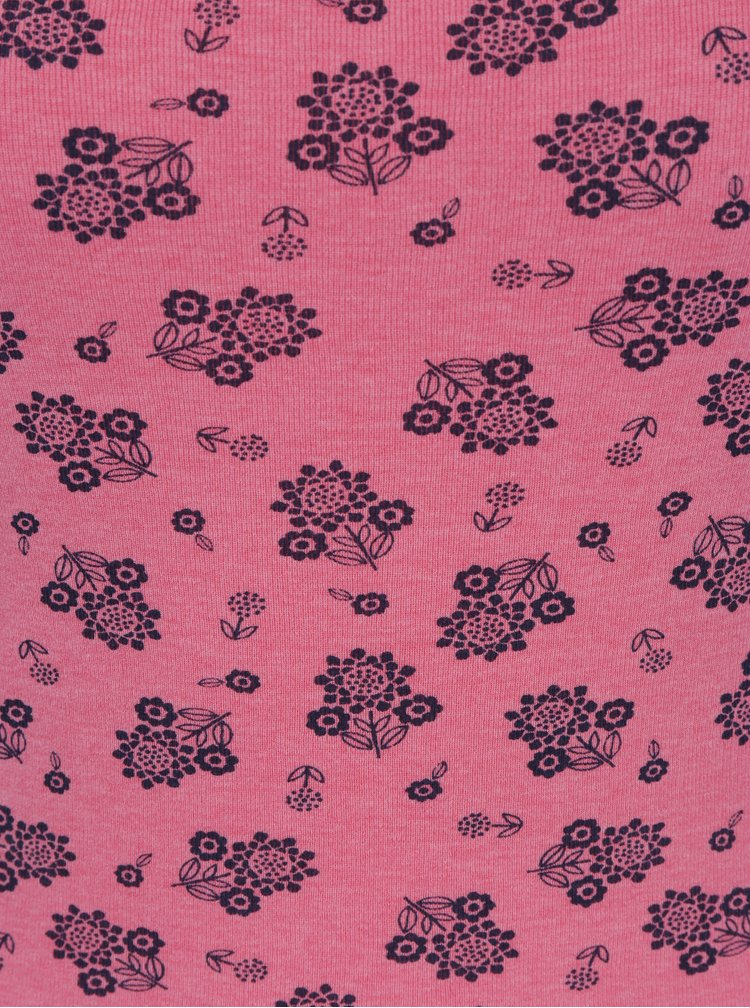 Růžové květované tričko s dlouhým rukávem M&Co