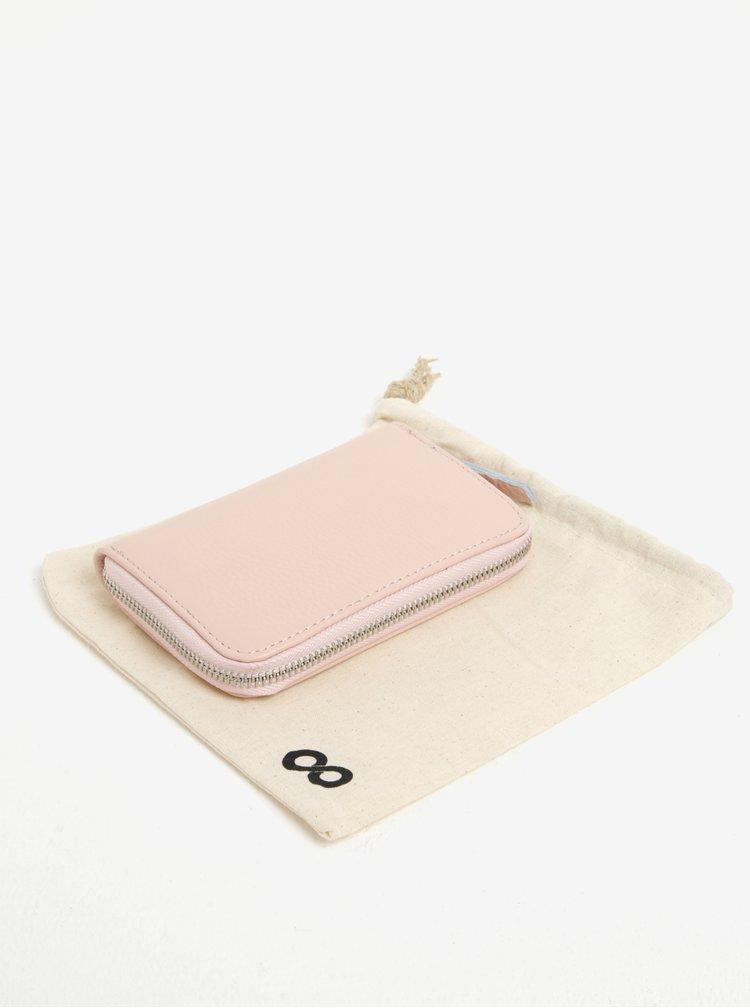 Světle růžová kožená malá peněženka na zip ZOOT