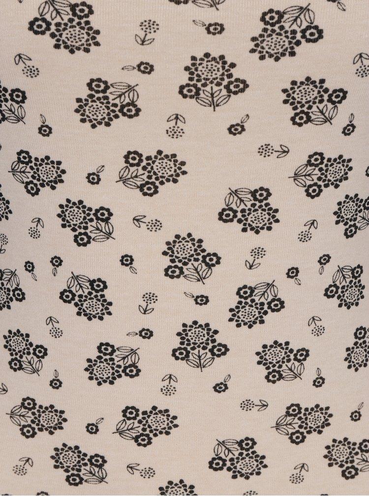 Béžové květované tričko s dlouhým rukávem M&Co
