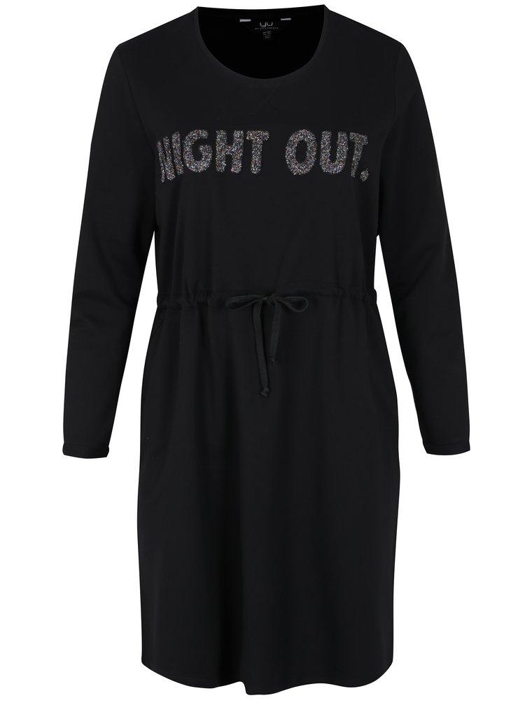 Černé mikinové šaty s výšivkou a dlouhým rukávem Ulla Popken