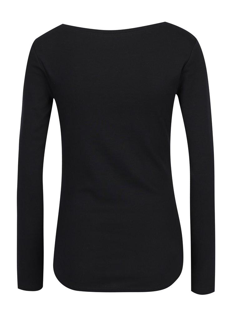 Černé basic tričko s dlouhým rukávem M&Co