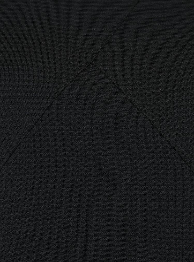 Černé žebrované šaty s kapsami Ulla Popken