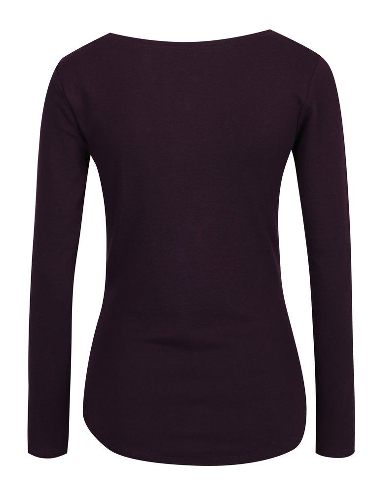 Fialové basic tričko s dlouhým rukávem M&Co