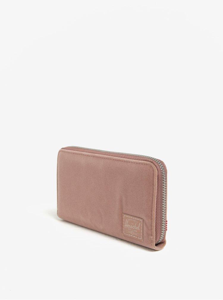 Starorůžová dámská sametová peněženka Herschel Thomas