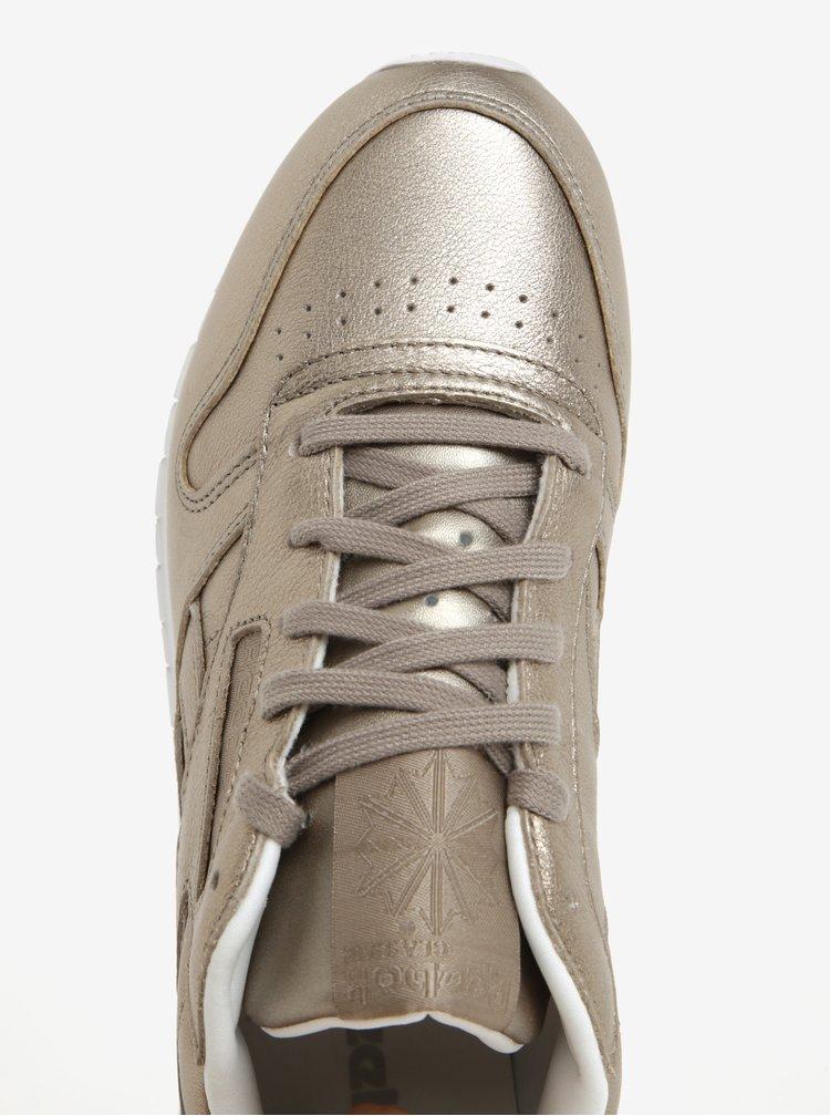 Pantofi sport aurii din piele naturala pentru femei  Reebok Classic Leather L