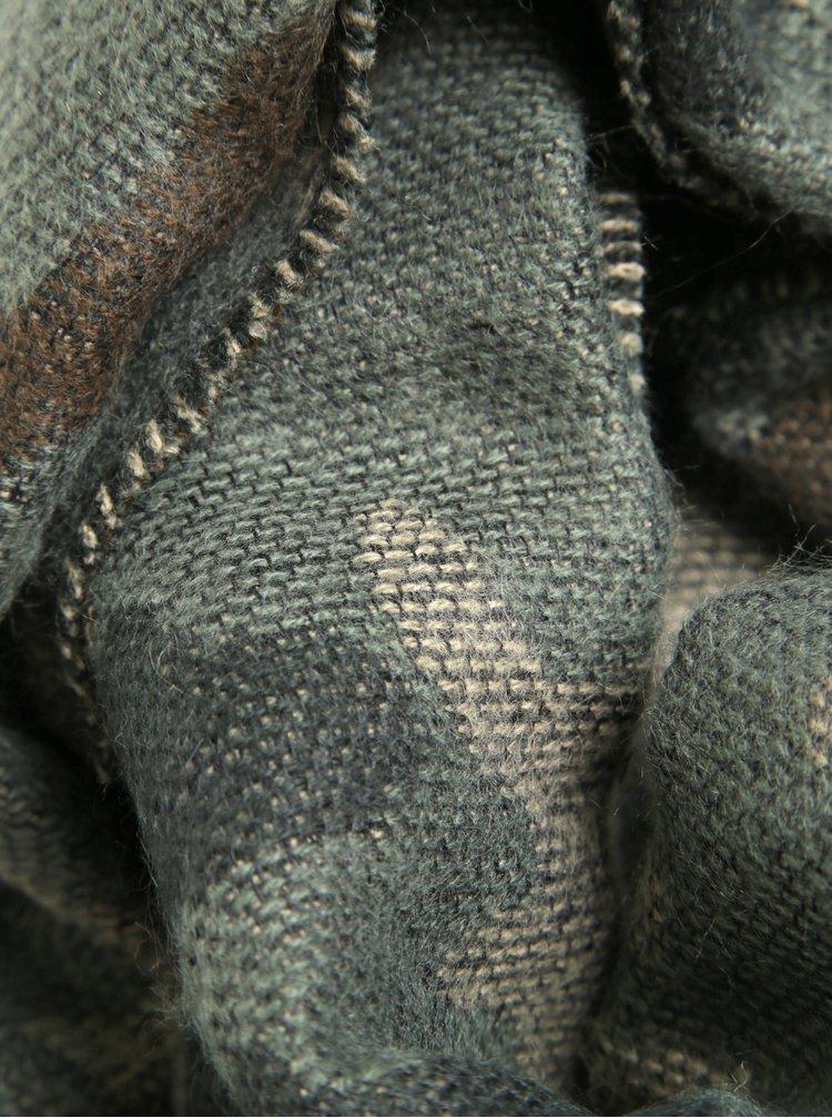 Fular verde cu franjuri si print camuflaj Jack & Jones Originals Trenton