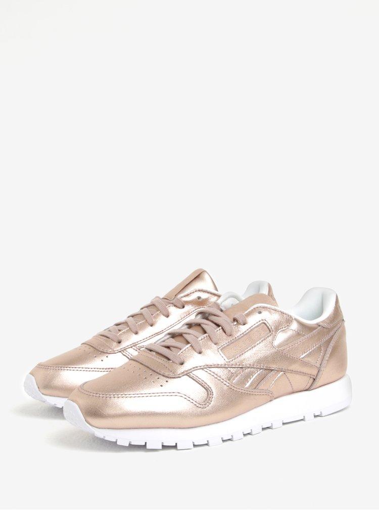Pantofi sport auriu-roze din piele naturala  Reebok Classic Leather L