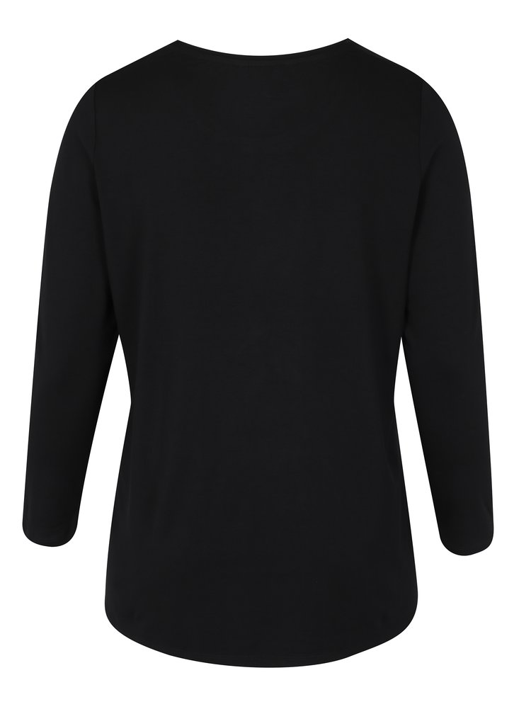 Černé tričko s volánem a dlouhým rukávem Ulla Popken