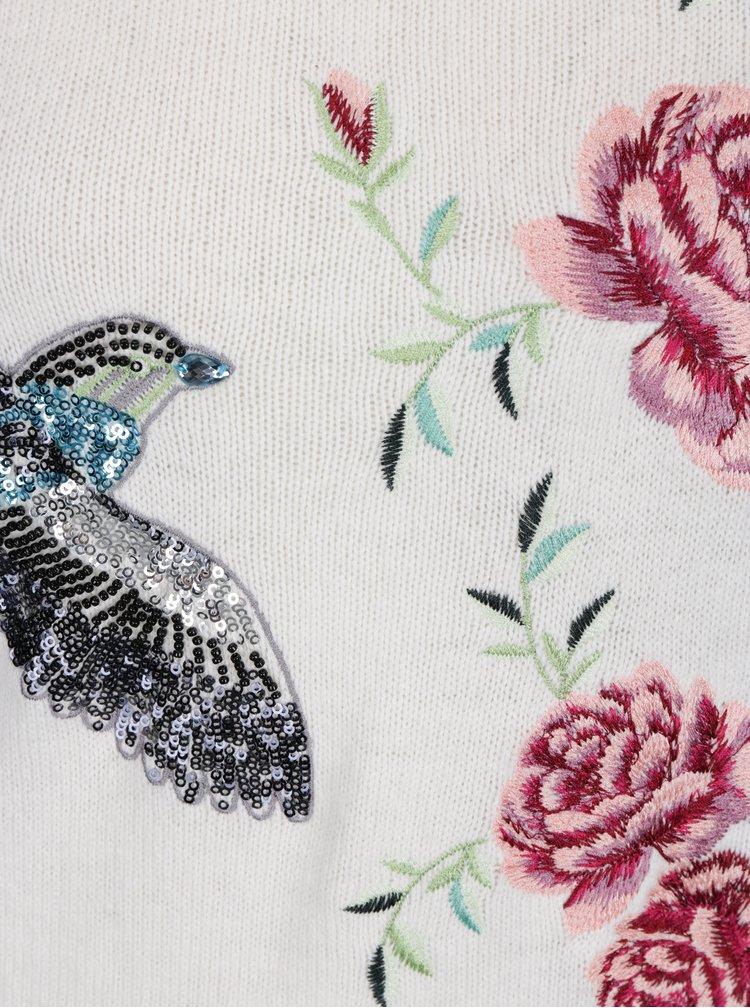 Krémový svetr s květovanou výšivkou M&Co