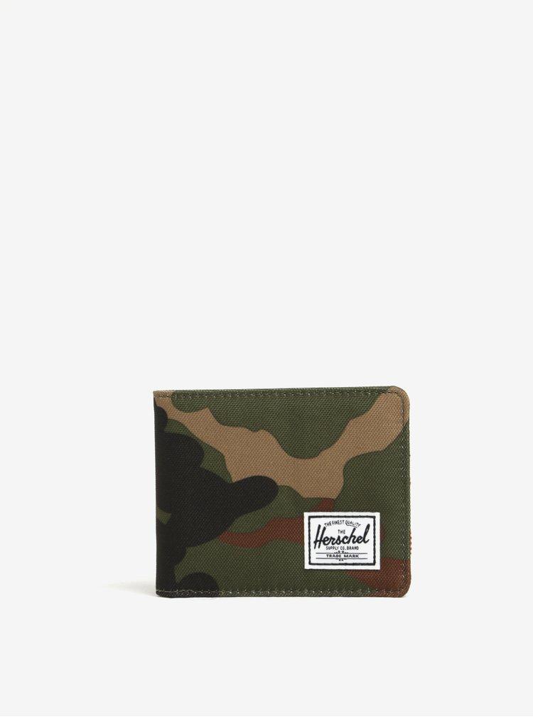 Portofel verde cu print camuflaj si tehnologie anti-furt Herschel Roy