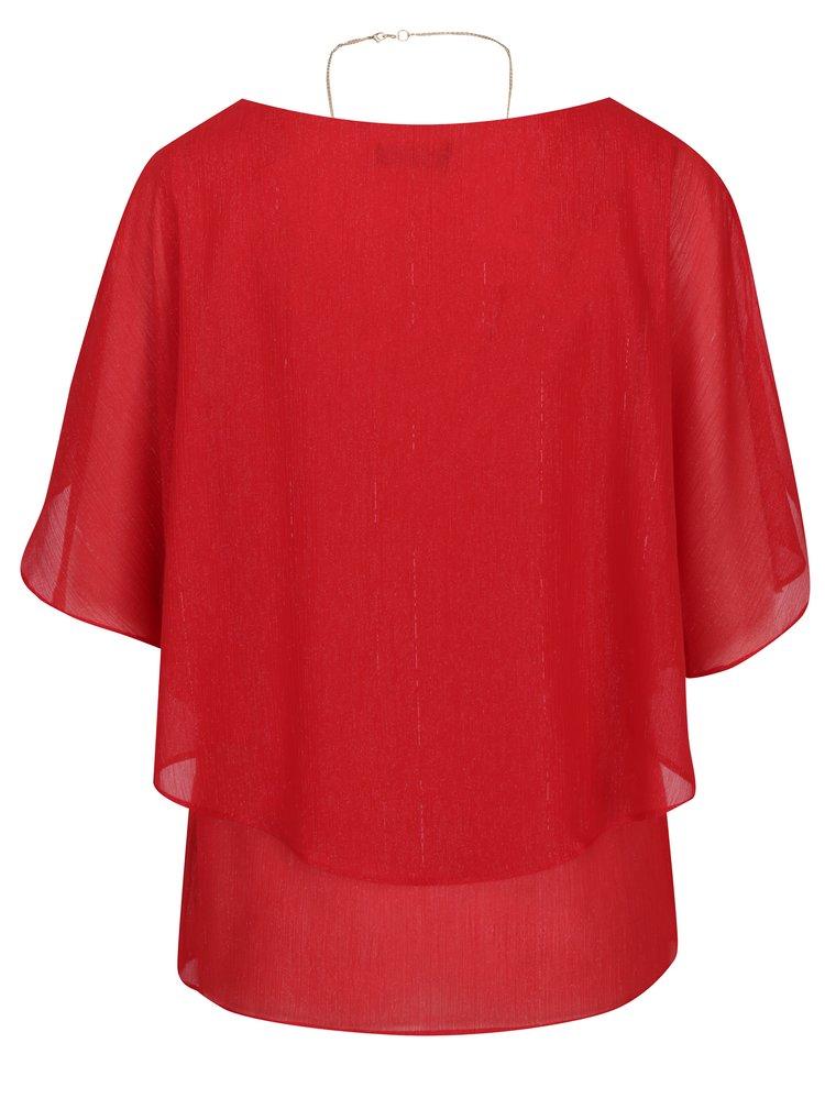 Červená třpytivá halenka s přívěskem M&Co