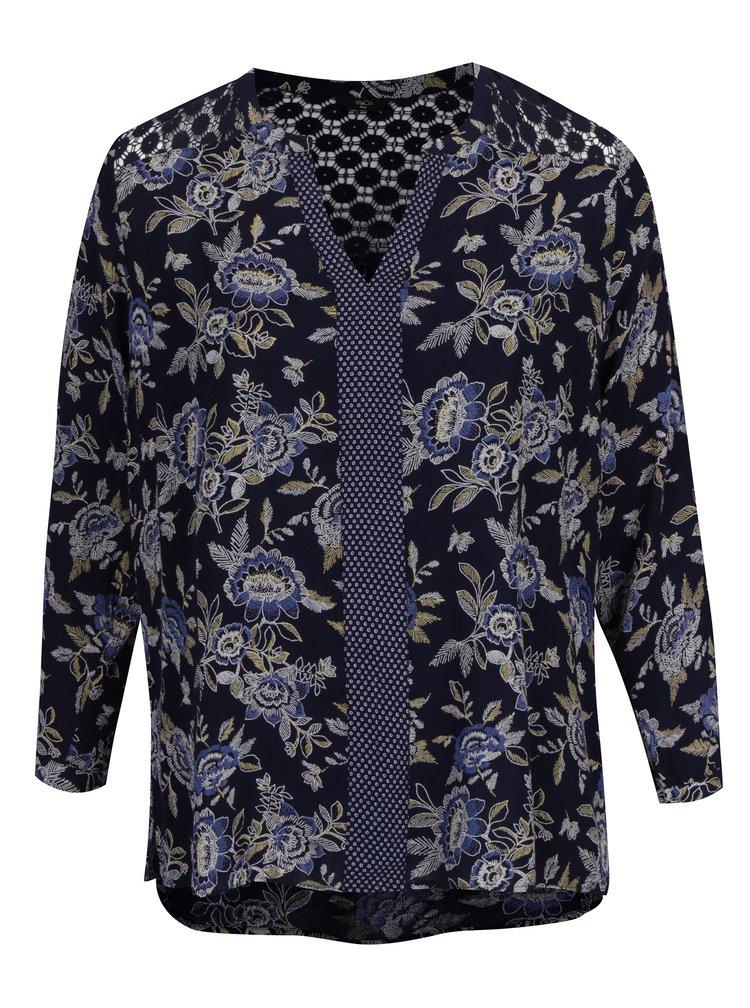 Tmavě modrá květovaná tunika s průsvitnou krajkou na zádech M&Co