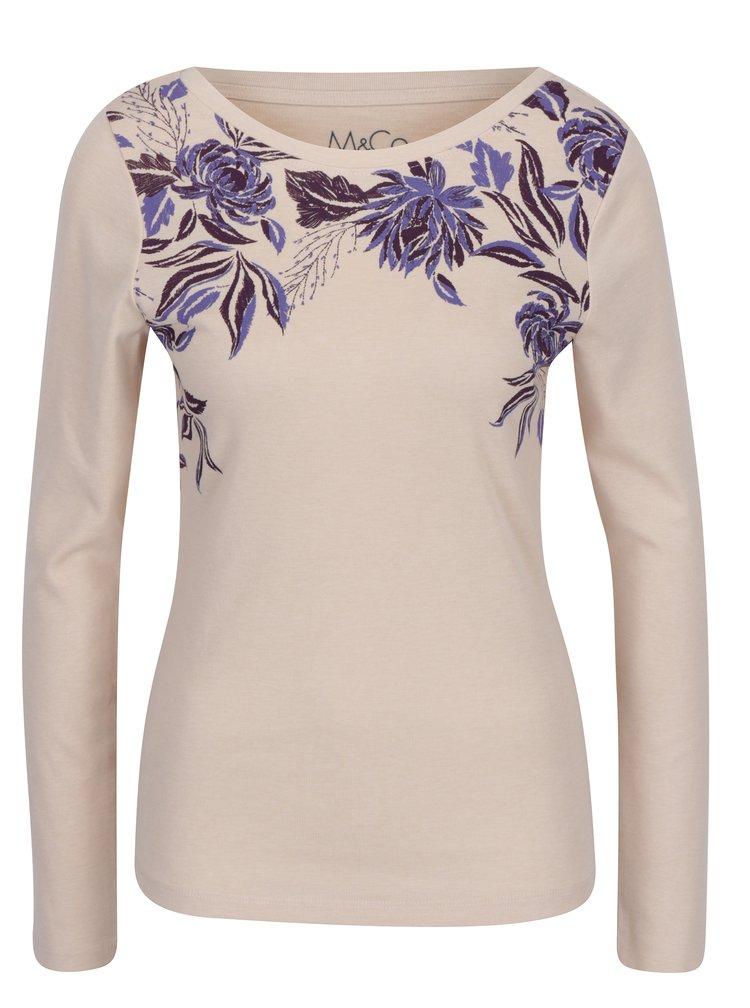 Bluza bej cu print floral si decolteu rotund M&Co