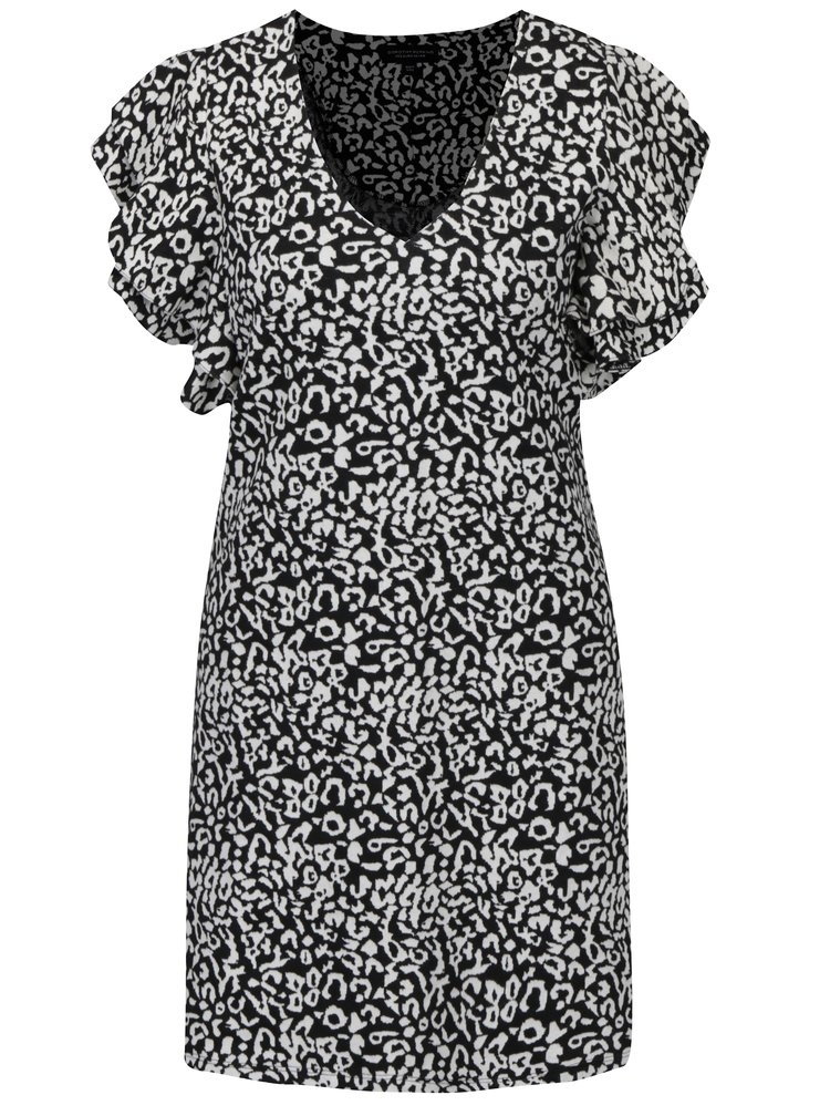 Krémovo–čierne vzorované šaty s volánmi Dorothy Perkins