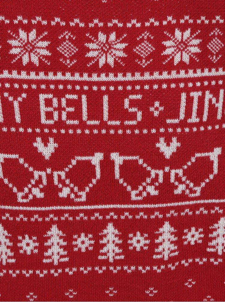Pulover rosu&alb cu motiv norvegian Jack & Jones Originals Stag Knit