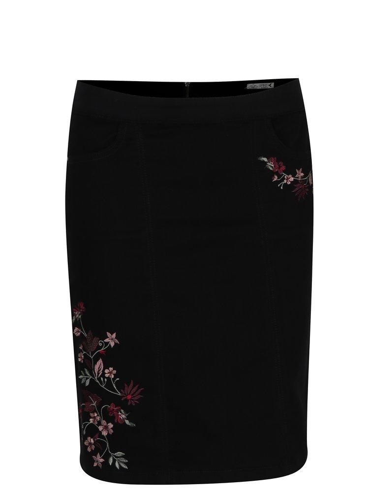 Černá sukně s květovanou výšivkou M&Co