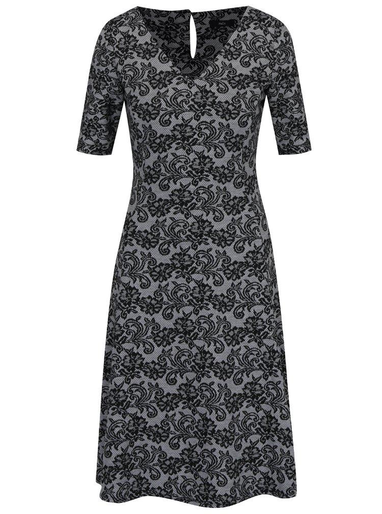 Šedé vzorované šaty s krátkým rukávem M&Co