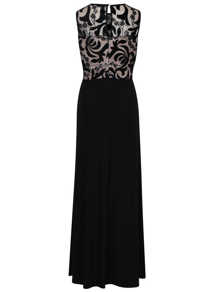 Rochie maxi neagra cu model floral M&Co