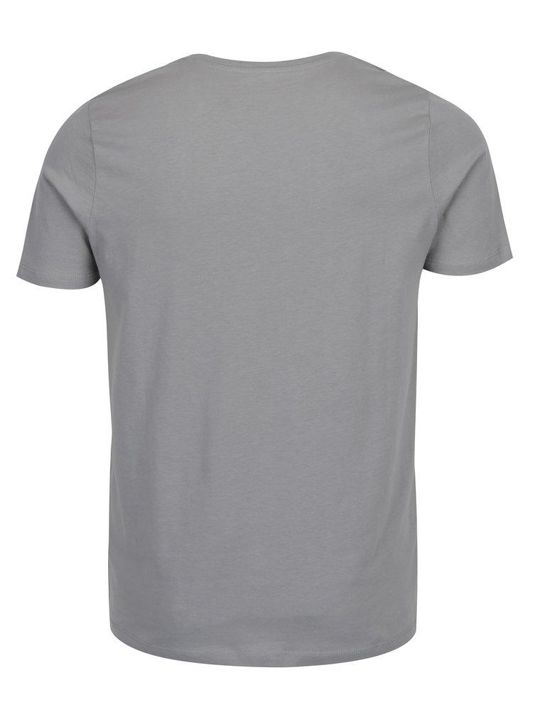 Šedé tričko s potiskem Jack & Jones Core Booster