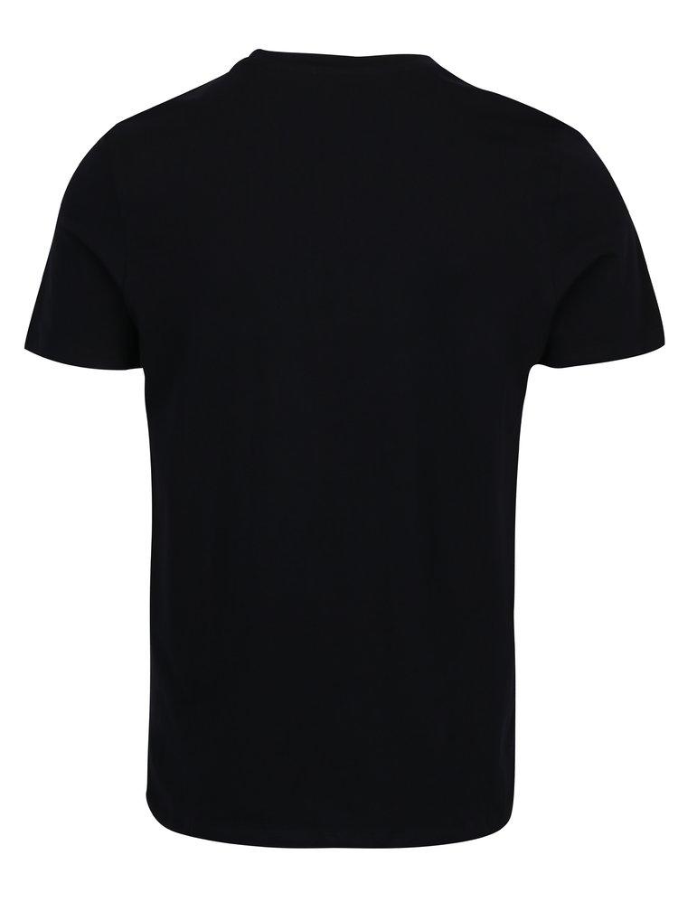 Tricou negru&alb cu print text Jack & Jones Core Arnos